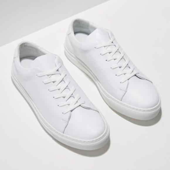 Frank & Oak Shoes - Frank & Oak Park Leather Low Top Sneakers in White
